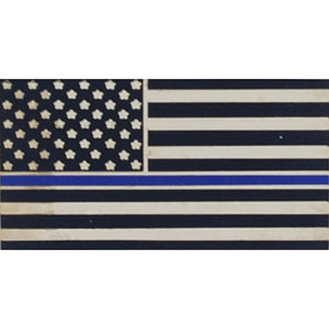 POLICE, BLUE LINE, HONOR FLAG HAT PIN