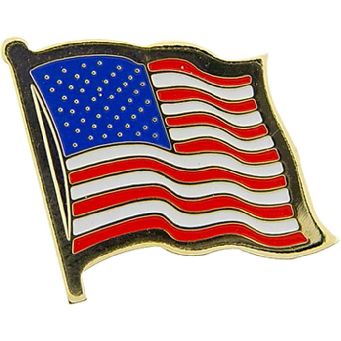 USA FLAG, WAVY HAT PIN