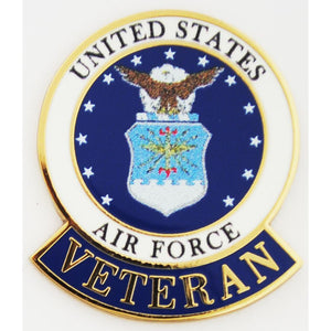 US AIR FORCE EMBLEM, VETERAN HAT PIN