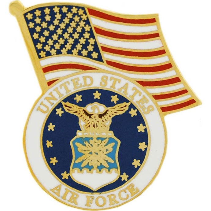 US AIR FORCE EMBLEM, USA FLAG HAT PIN