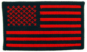 USA FLAG, RED AND BLACK PATCH