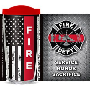 FIRE DEPARTMENT RED LINE THERMAL 16oz CUP W/ LID