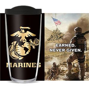US MARINES EARNED NEVER GIVEN THERMAL 16oz CUP W/ LID