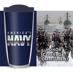 US NAVY HONOR & COURAGE THERMAL 16oz CUP W/ LID