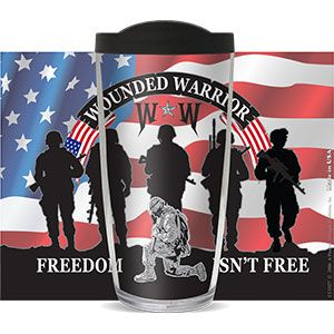 WOUNDED WARRIOR FREEDOM ISN'T FREE THERMAL 16oz CUP W/ LID