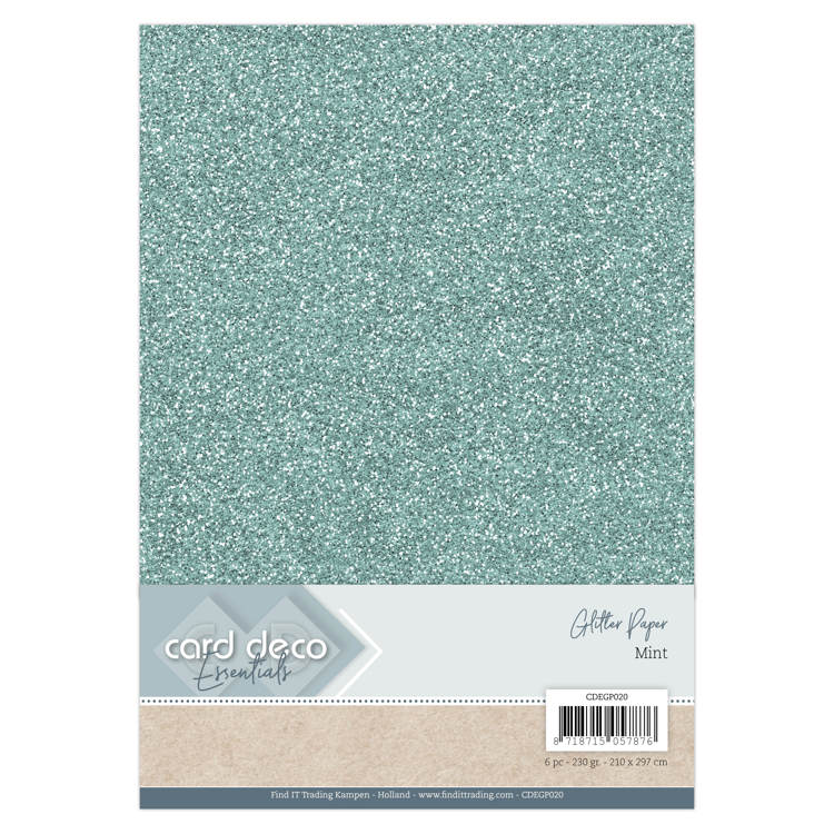 Card Deco Essentials Glitterkarton - Mint