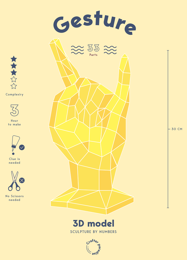 Hands gesture low polygon papercraft kit