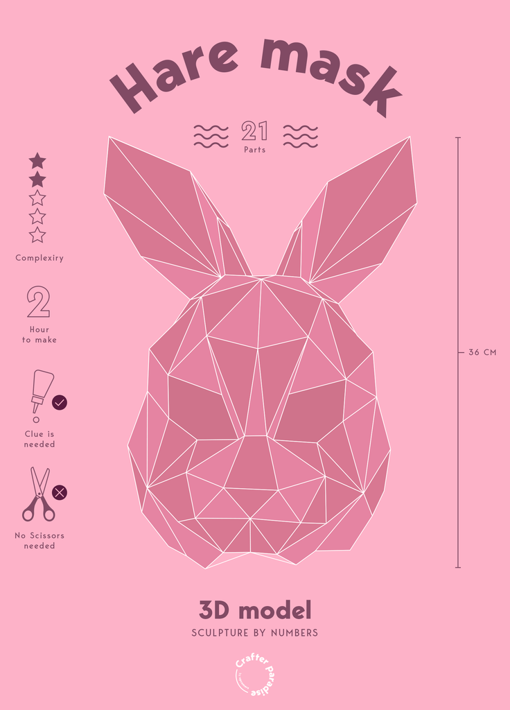 Hare low polygon papercraft kit