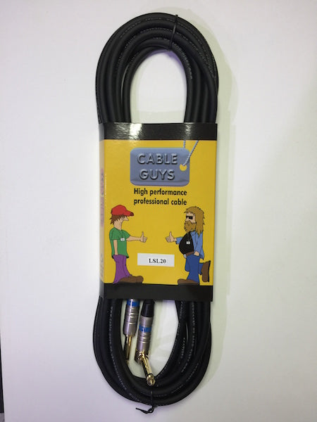"Cable Guys Guitar Lead 6.3mm (1/4"") Jacks - Black - 6m (20ft)"