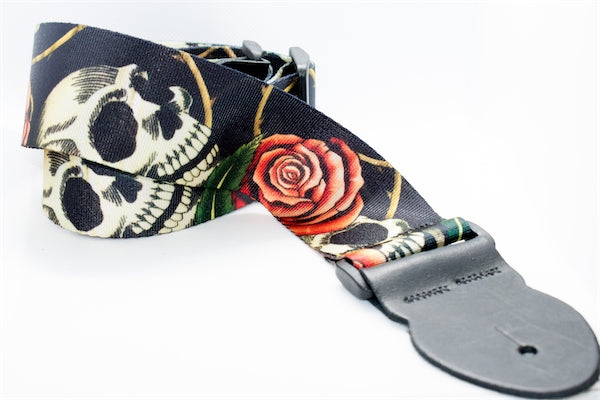 Guitar Strap - Skull and Rose