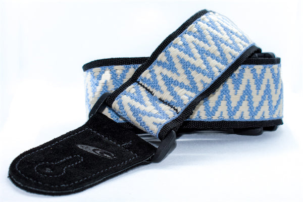 Guitar Strap - Jacquard - Blue Zig Zag on White
