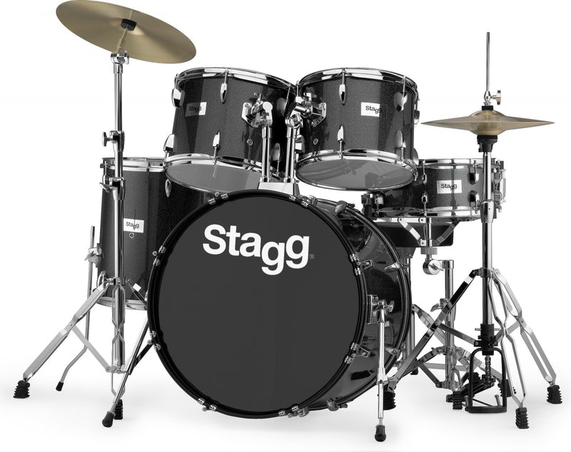 Stagg 5 Piece Black Sparkle Drum Kit