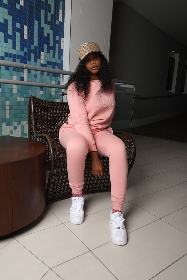 Plush Pink Slim Fit Jogger Set
