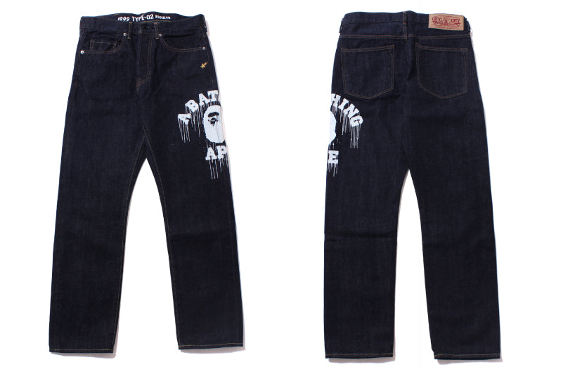 1999 TYPE-02 COLLEGE PRINT DENIM PANTS