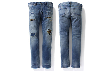 SLIM STRETCH DAMAGED DENIM  PANTS