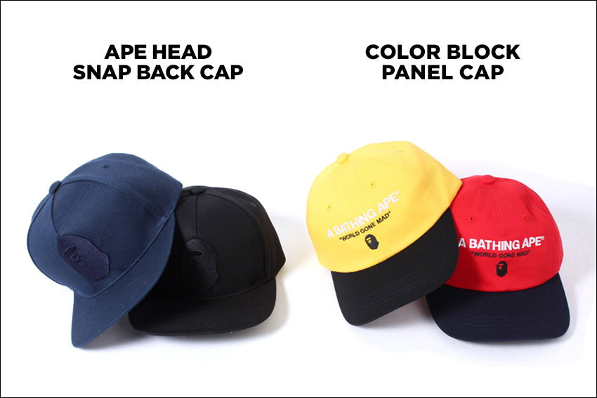 COLOR BLOCK PANEL CAP / APE HEAD SNAP BACK CAP