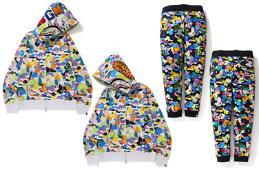 MULTI CAMO SHARK FULL ZIP HOODIE / MULTI CAMO SLIM SWEAT PANTS