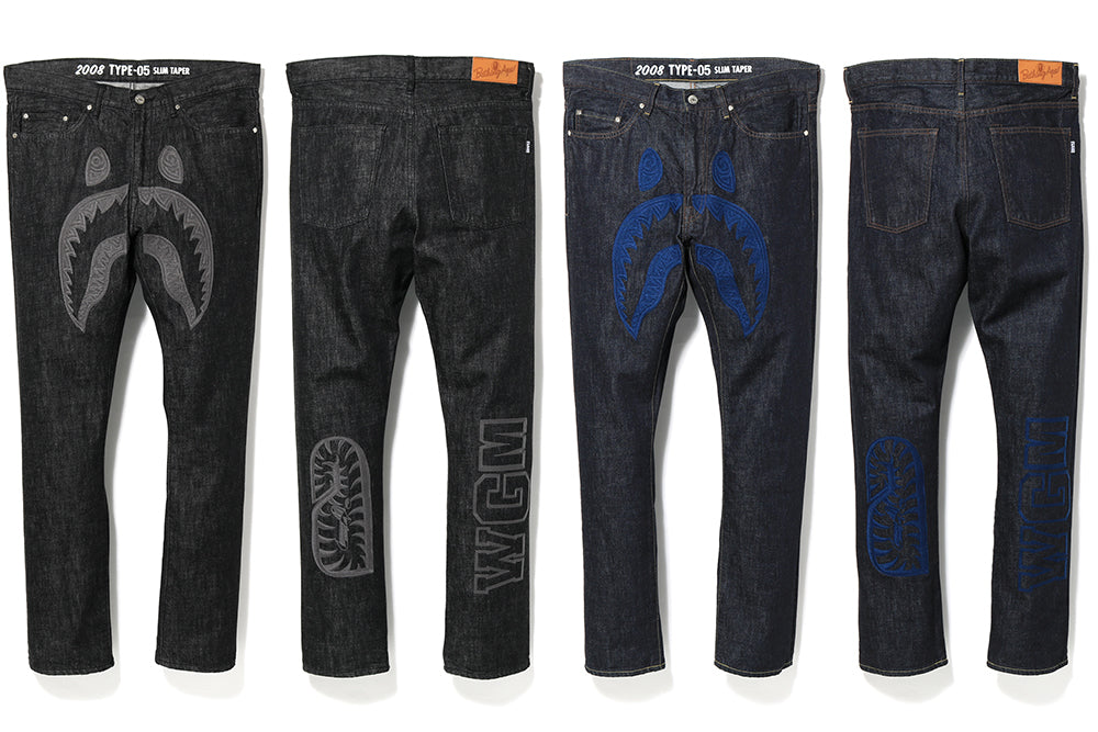 2008 TYPE-05 SHARK EMBROIDERY DENIM PANTS