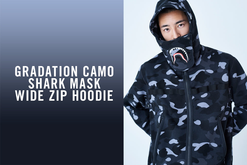 GRADATION CAMO SHARK MASK WIDE ZIP HOODIE