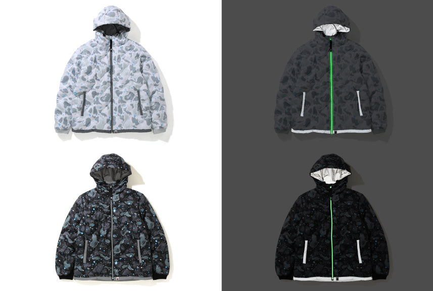 SPACE CAMO HOODIE DOWN JACKET