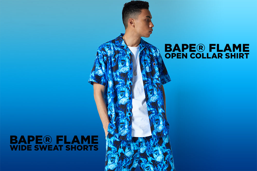 BAPE® FLAME OPEN COLLAR SHIRT / WIDE SWEAT SHORTS