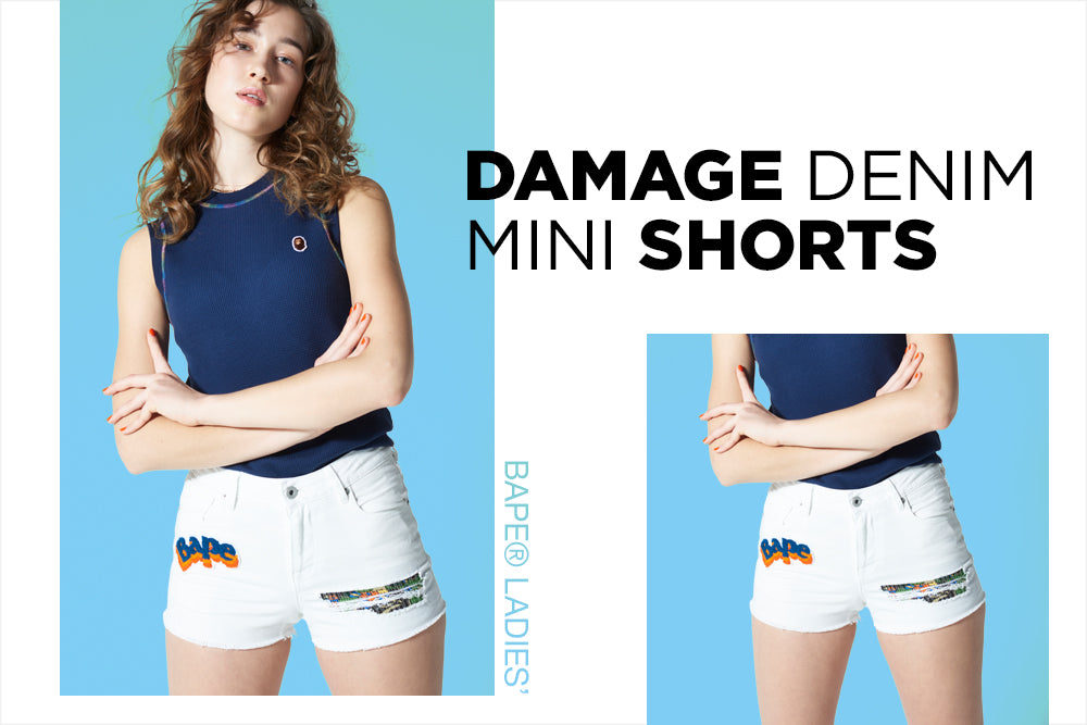 DAMAGE DENIM MINI SHORTS