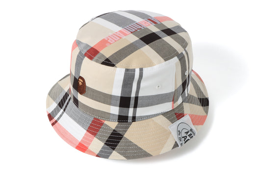 BAPE CHECK APE HEAD ONE POINT BUCKET HAT