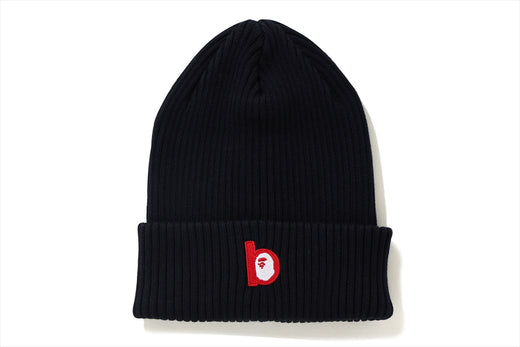 B PATCH RIB KNIT CAP
