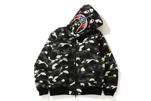 CITY CAMO SHARK HOODIE DOWN JACKET