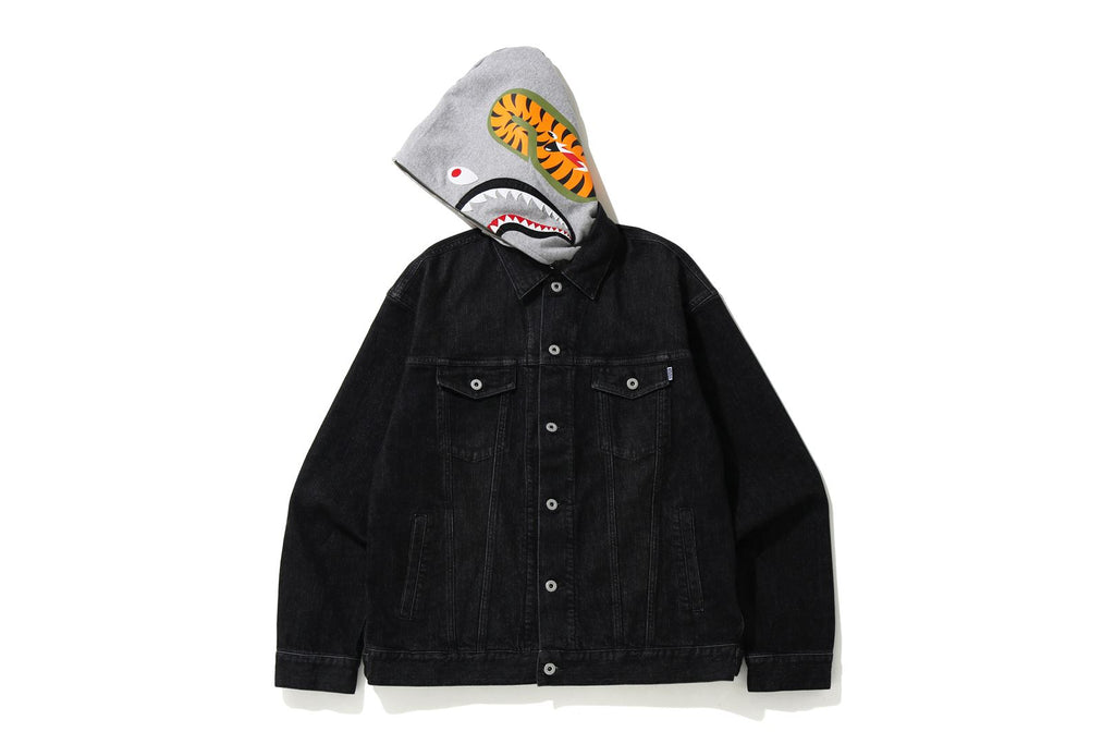 RELAXED SHARK HOODIE DENIM JACKET