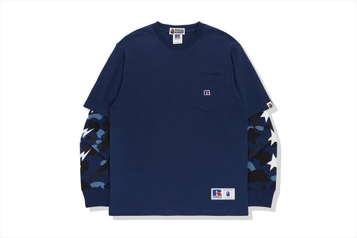 【 BAPE X RUSSELL 】COLOR CAMO COLLEGE LAYERD L/S TEE