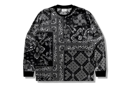 【 BAPE BLACK 】SILK WOVEN PAISLEY LONG SLEEVE TEE