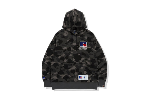 【 BAPE X RUSSELL 】 COLOR CAMO COLLEGE PULLOVER HOODIE