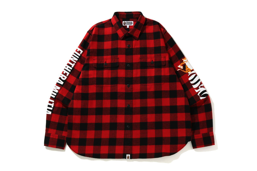 BLOCK CHECK TIGER FLANNEL RELAXED SHIRT