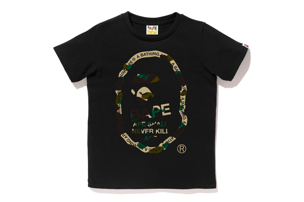 1ST CAMO TEXT APE HEAD TEE