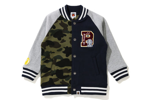 1ST CAMO MILO COLOR BLOCK SWEAT VARSITY JACKET