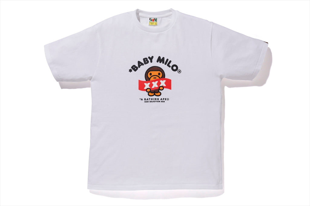 【 BAPE X GOD SELECTION XXX 】BABY MILO TEE