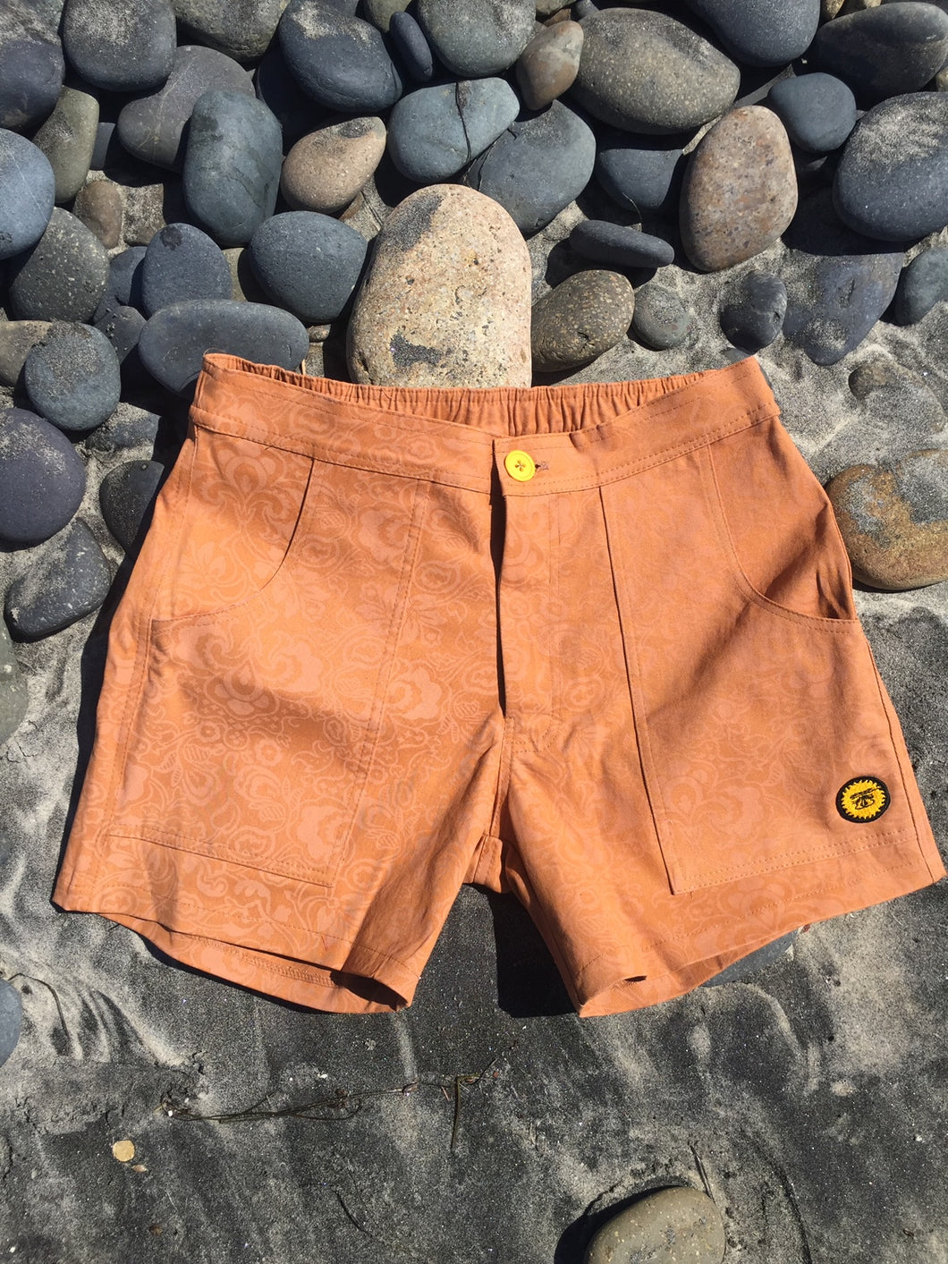Rust/Tan Flower Paisley Pattern Walk Short