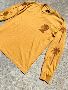 Palm Tree block printed Longsleeve Tee, with Rider Sun logo on back