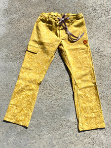 Yellow Gold Flower Pattern Beach Jam Pants, Baja Cruiser Pant.