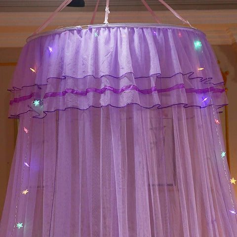 Mosquito Net Bed Canopy Dome Mesh for Bedroom w/ LED String Light