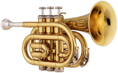 Pocket Trumpet B Flat for Beginners with Mouthpiece and Case
