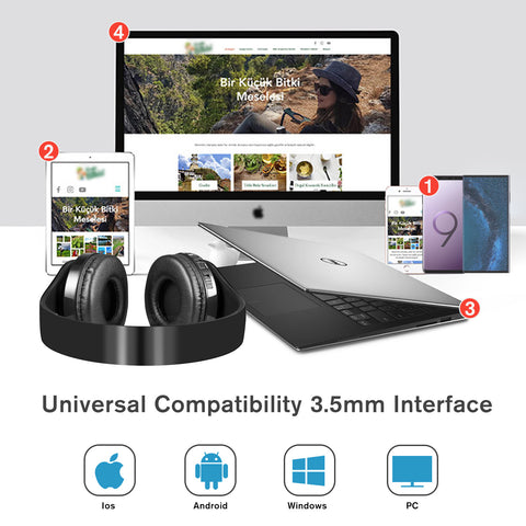 Wireless Bluetooth Foldable Stereo Over-Ear Headphone with Mic