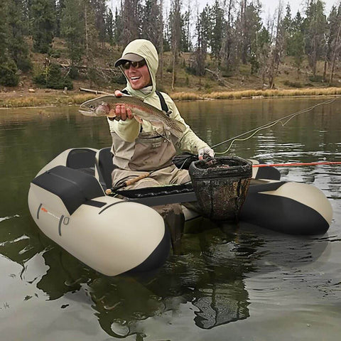 Inflatable Fishing Float Tube with Pump Storage Pockets and Straps