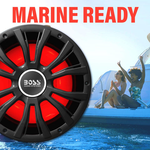 Marine Subwoofer Boat Audio Power Sub with LED and Remote