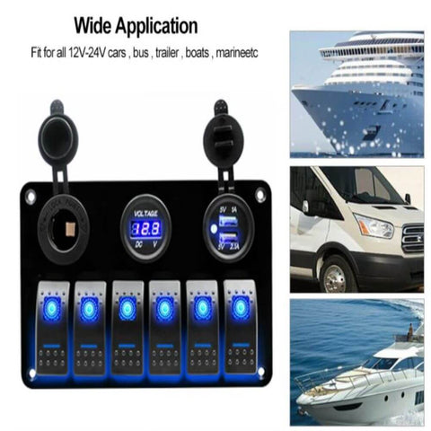 Switch Panel for Marine Boat and Trailer 6 Gang On/Off Toggle Switch