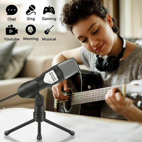Computer PC Microphone with Stand for Desktop Gaming Recording