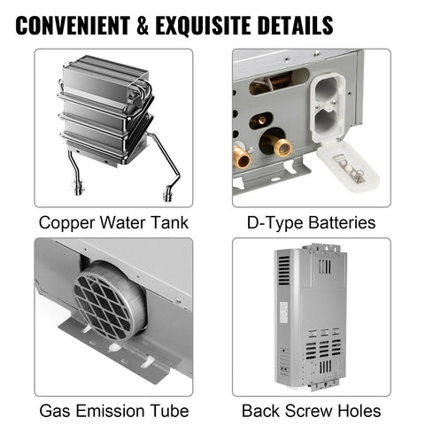 Instant Hot Water Heater Tankless Propane Gas LPG with Temperature Display