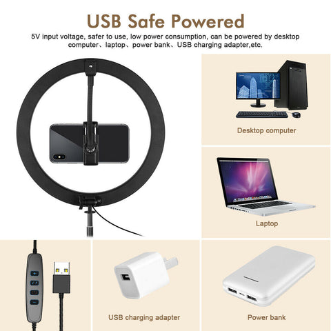 Dimmable LED Ring Light with Stand for Phone Video/Selfie - 10 inch