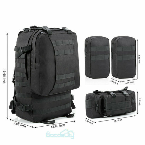 Hiking Backpack Camping Travel Outdoor Military Gear Bag -55L